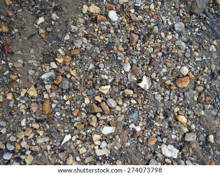 Wet Rocks, Sand, and dirt, great for textures, backgrounds at Rock Creek in Washington DC. - stock photo