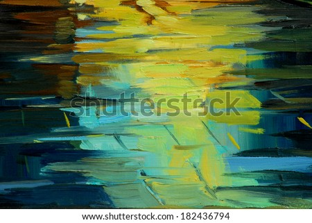 wet shined roadway under a rain, painting, illustration - stock photo
