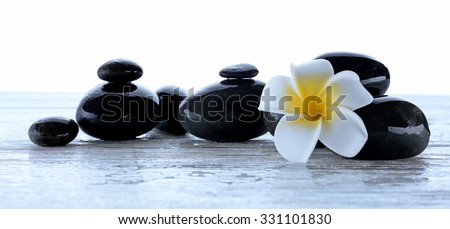 Wet spa stones with flower isolated on white - stock photo
