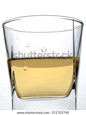 wet square glass with alcohol on white background