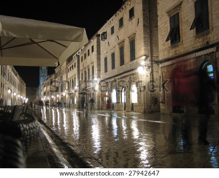 Wet street after rain in the old city of Dubrovnik, croatia - stock photo