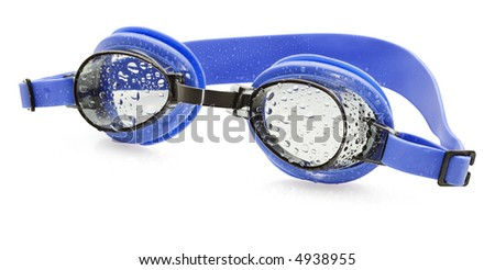 Wet Swimming Goggles- isolated on white - stock photo