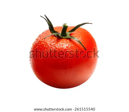 Wet tomato isolated on white background front view
