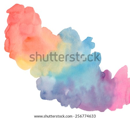 Wet Watercolor Rainbow Paint Cloud. Wet Rainbow Watercolor Puddle of Paint.