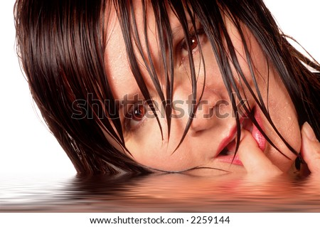 Wet Woman Laying in Water