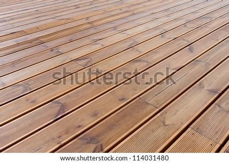 wet wood terrace  floor  background - stock photo