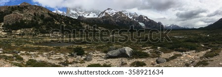 Wetland below Fitz Roy in Argentina - stock photo
