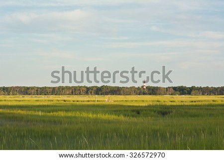 Wetland Conservation with Lighthouse at the Virginia National Seashore - stock photo