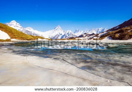 Wetterhorn and Schreckhorn peaks reflected in the full of ice water of the Bachalpsee lake in the Swiss Alps.