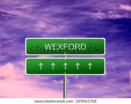 Wexford city Ireland tourism Eire welcome icon sign. - stock photo