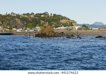 Whakatane Heads/ Whakatane is the largest town the the western Bay Of Plenty. NZ. This is taken from the river mouth head looking back into town