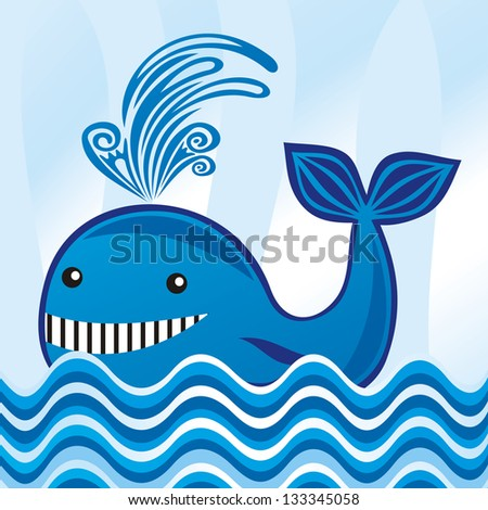 Whale illustration - stock photo
