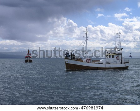 Whale watching ship in Husavik, on the north coast of Iceland