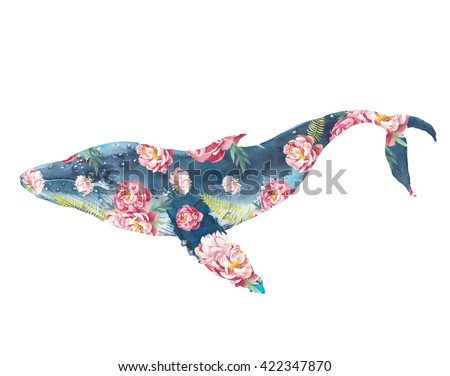 Whale with flowers artwork. Watercolor print with blue whale and peonies bouquet pattern. Hand painted animal silhouette isolated on white background. Creative natural illustration