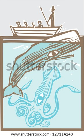 Whaling boat with harpoon hunts a whale with giant squid. - stock photo