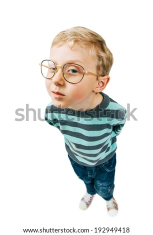 What are you doing here? Little pretty boy curios portrait - stock photo