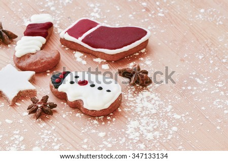 What better time to share with family members in making your own home design, homemade cookie to usher the occasion / Christmas cookies / Shapes can be cut with free hand or with commercial die-cut  - stock photo