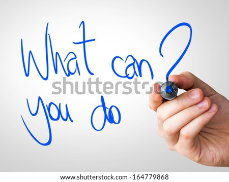 What can you do hand writing with a blue mark on a transparent board - stock photo