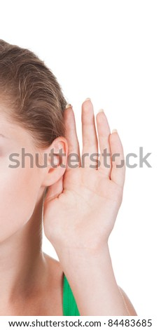 What? Closeup for female hand on ear. Listening. Vertical - stock photo