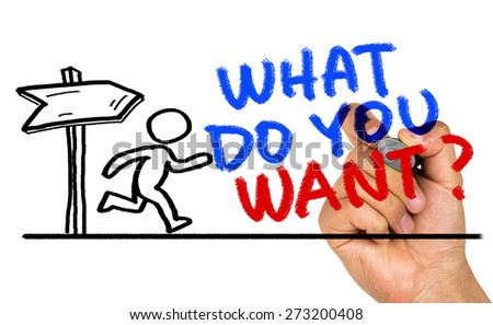 what do you want concept hand drawing on whiteboard - stock photo