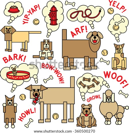 What Dogs Think and Say illustration of dogs and what they say and think about. Will also repeat seamlessly.   - stock photo