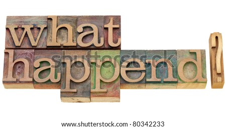 what happened question - isolated text in vintage wood printing blocks