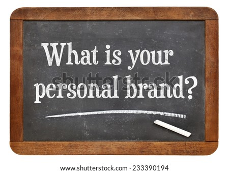 What is your personal brand  question on a vintage slate blackboard - stock photo