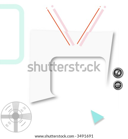 What's on TV? Your copy & graphic, in this Retro Futuristic Abstract Television Background. - stock photo