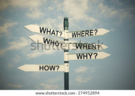 What, Where, Who, Why, When, How-written with Direction board - stock photo