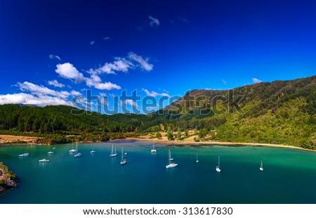 Whatamango Bay. Vicinity of Picton town, New Zealand. - stock photo