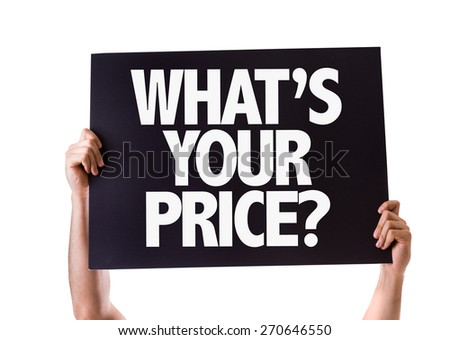Whats Your Price? card isolated on white - stock photo