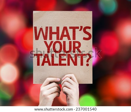 Whats Your Talent? card with colorful background with defocused lights - stock photo