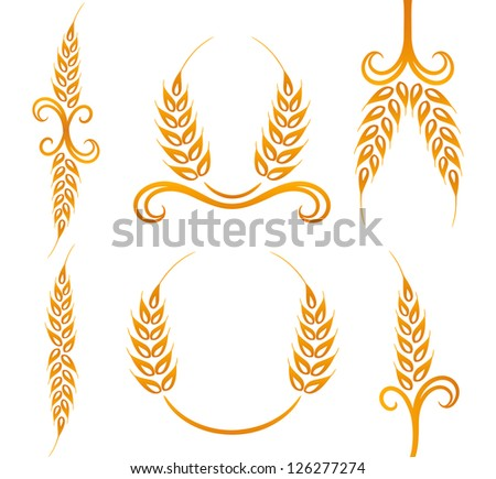 Wheat and rye decoration elements - stock photo