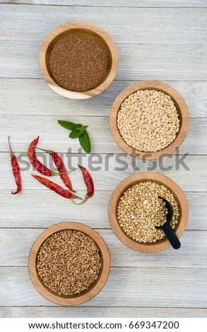 Wheat Berries Buckwheat Groats Pearl Barley Stock Photo Royalty
