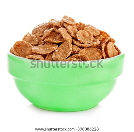 Wheat bran breakfast cereal in a bowl isolated on white background. - stock photo
