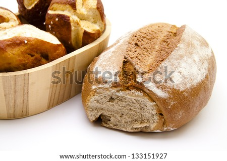 Wheat bread with lye bread rolls