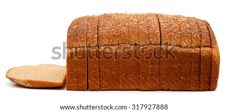 wheat brown bread slices on white background  - stock photo