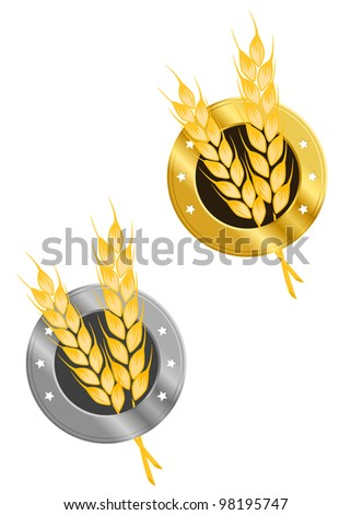 Wheat ear in frame for agriculture design, such  a logo. Vector version also available in gallery