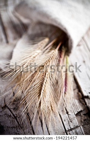 wheat ears closeup on rustic wooden  background