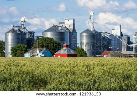 Wheat fields around a grain elevator and silos - stock photo