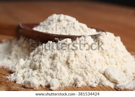 Wheat flour on wooden spoon