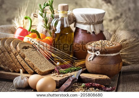 Wheat grain in the composition with cooking items