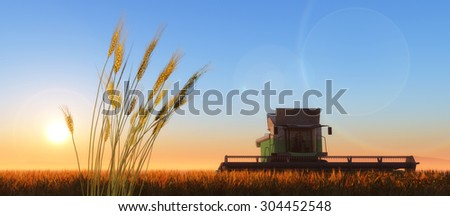 wheat harvester working in wheat field - stock photo