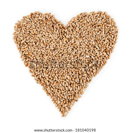 Wheat in the form of heart isolated on white