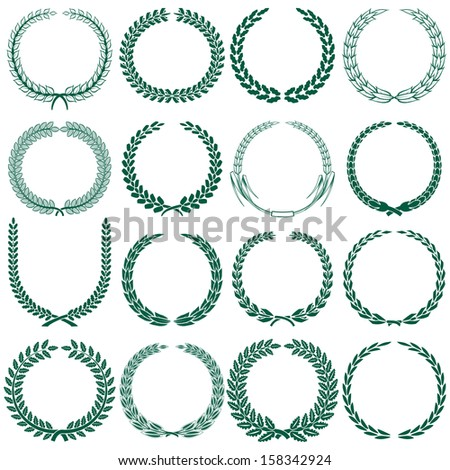 wheat, laurel, oak and some other tree wreaths set - stock photo