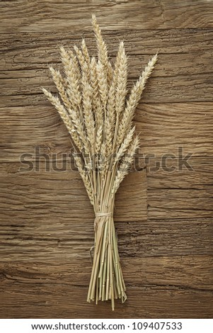 Wheat on the wood background