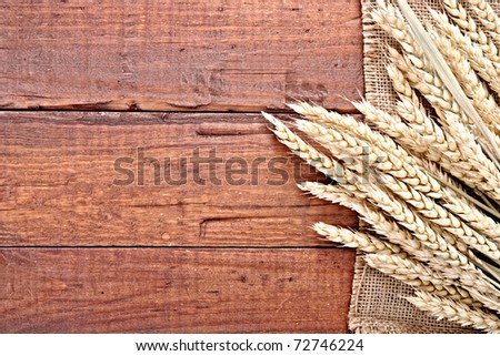 wheat on the wooden background - stock photo