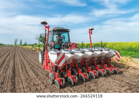 wheat sowing in the spring - stock photo