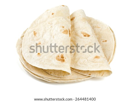 wheat tortillas isolated on white - stock photo