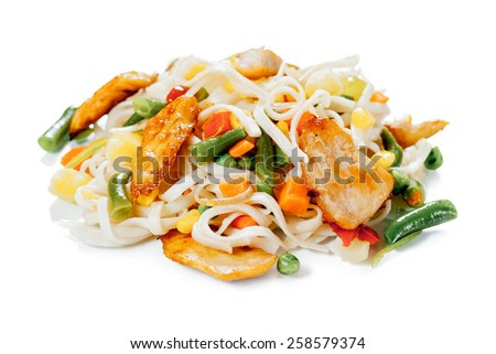 Wheat udon noodles with chicken on a white background - stock photo